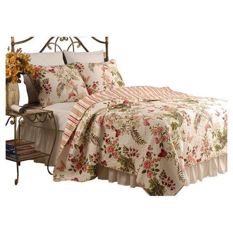 Twin size 100% Cotton Quilt Set with Sham in Pink Floral Butterfly-Bedroom > Quilts & Blankets-Loluxe