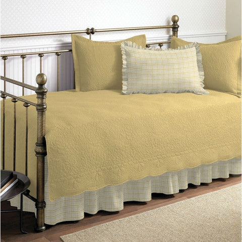 Twin size 100-Percent Cotton 5-Piece Quilt Set for Daybeds in Yellow-Bedroom > Quilts & Blankets-Loluxe