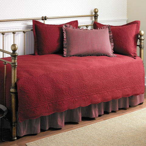 Twin size 5-Piece Daybed Cover Ensemble Quilt Set in Scarlet Red Cotton-Bedroom > Quilts & Blankets-Loluxe