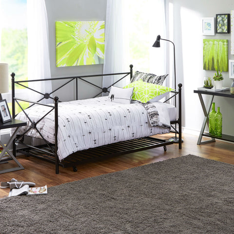Twin size Black Metal Day Bed Frame and Roll out Trundle Set-Bedroom > Bed Frames > Daybeds-Loluxe