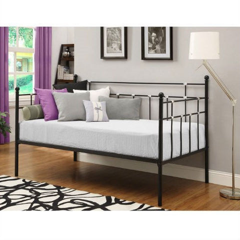 Twin size Black Metal Daybed with Chrome Detailing-Bedroom > Bed Frames > Daybeds-Loluxe