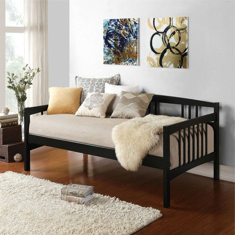Twin size Black Solid Wood Day Bed Frame with Wooden Slats-Bedroom > Bed Frames > Daybeds-Loluxe