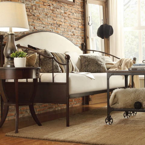 Twin size Bronze Metal Daybed with Beige Linen Upholstered Backboard-Bedroom > Bed Frames > Daybeds-Loluxe