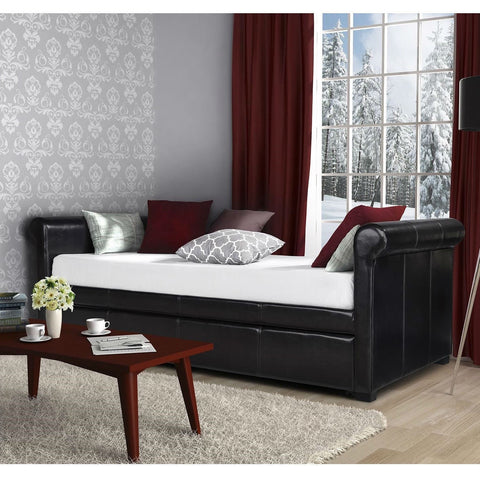 Twin size Brown Faux Leather Upholstered Daybed with Trundle-Bedroom > Bed Frames > Daybeds-Loluxe