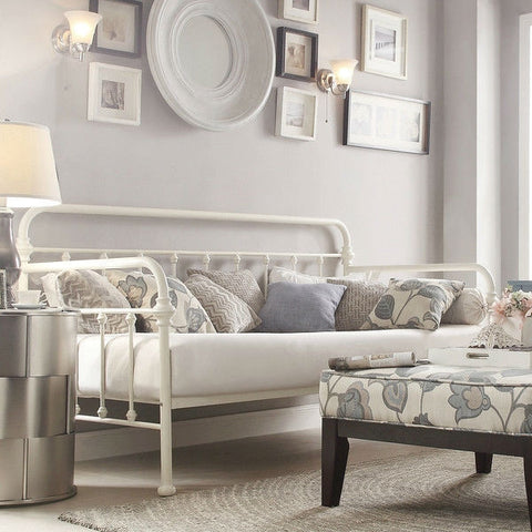 Twin size Contemporary Classic Style White Metal Daybed-Bedroom > Bed Frames > Daybeds-Loluxe