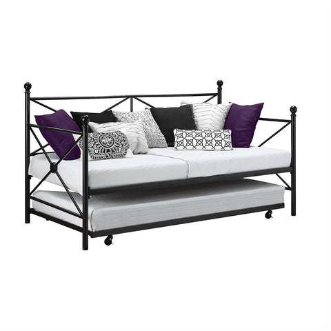 Twin size Contemporary Daybed and Trundle Set in Black Metal Finish-Bedroom > Bed Frames > Daybeds-Loluxe