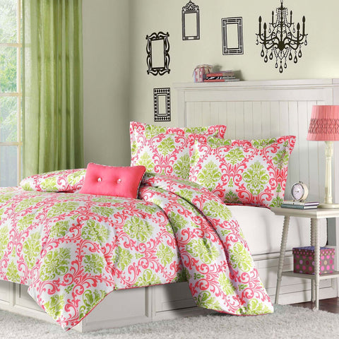 Twin size Coral Pink White Light Olive Green Damask Comforter Set-Bedroom > Comforters and Sets-Loluxe