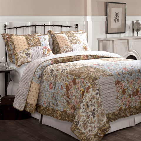 Twin size Cotton Patchwork Quilt Set with Floral Pattern-Bedroom > Quilts & Blankets-Loluxe