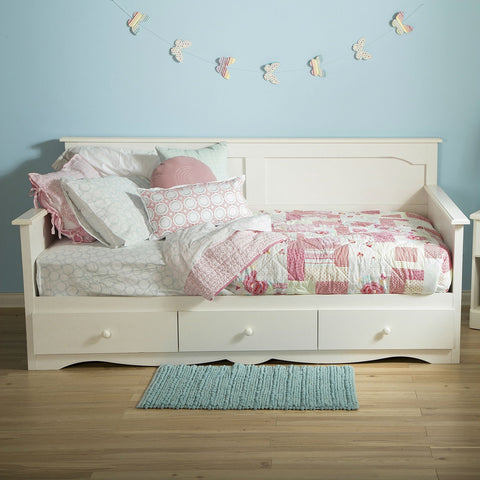 Twin size Country Style White Wood Daybed with 3 Storage Drawers-Bedroom > Bed Frames > Daybeds-Loluxe