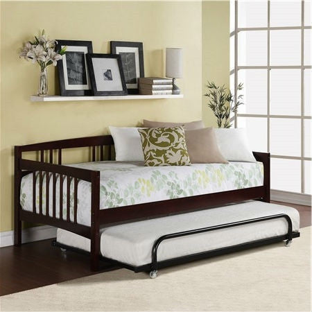 Twin size Day Bed in Espresso Wood Finish - Trundle Not Included-Bedroom > Bed Frames > Daybeds-Loluxe