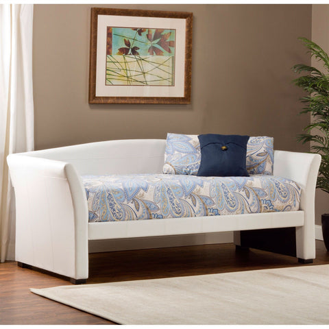 Twin size Day Bed in White Faux Leather Upholstery-Bedroom > Bed Frames > Daybeds-Loluxe