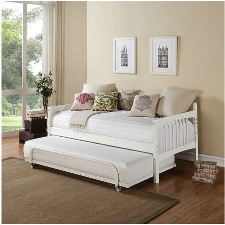 Twin size Daybed in White Wood Finish - Trundle Sold Separately-Bedroom > Bed Frames > Daybeds-Loluxe