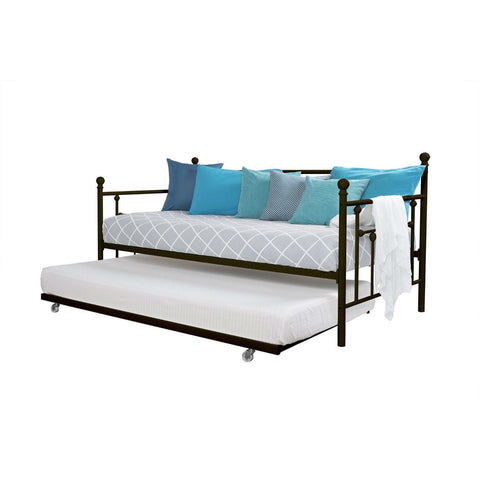 Twin size Metal Daybed with Pull-out Trundle Bed in Bronze Finish-Bedroom > Bed Frames > Daybeds-Loluxe