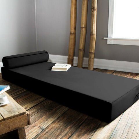 Twin size Modern Foam Daybed with Bolster Pillow in Black-Bedroom > Bed Frames > Daybeds-Loluxe