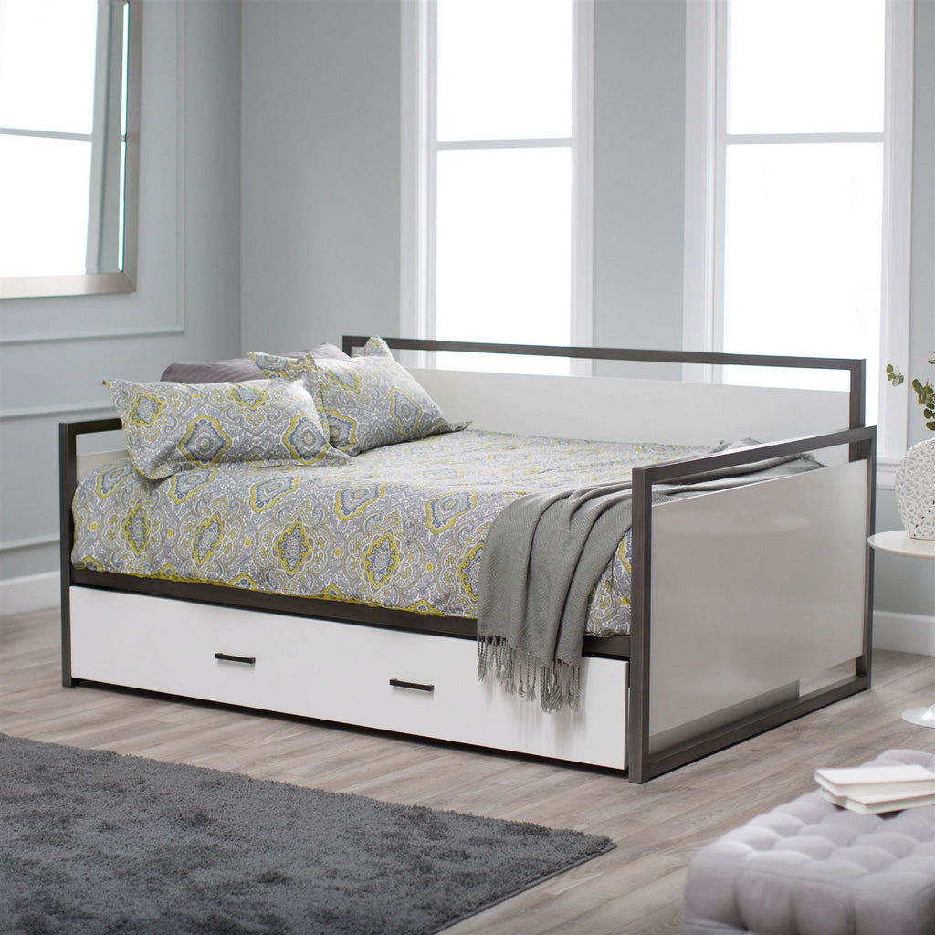 twin size modern metal frame daybed with pullout trundle bed in  -  twin size modern metal frame daybed with pullout trundle bed in glossywhite finish