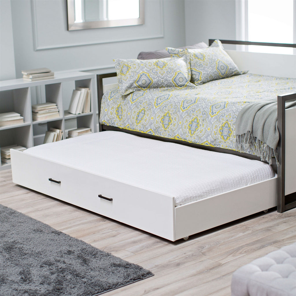 Trundle bed frame -  Twin Size Modern Metal Frame Daybed With Pull Out Trundle Bed In Glossy White Finish