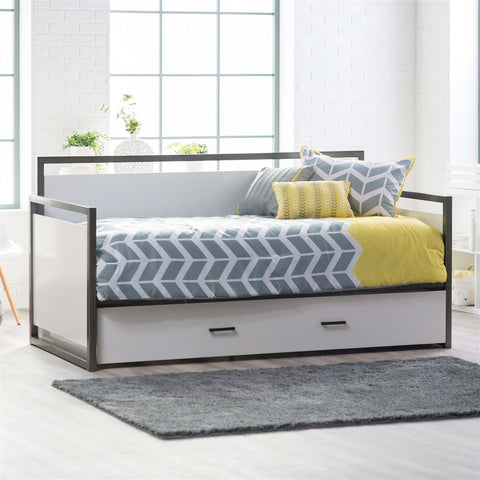 Twin size Modern Metal Frame Daybed with Pull-out Trundle Bed in Glossy White Finish-Bedroom > Bed Frames > Daybeds-Loluxe