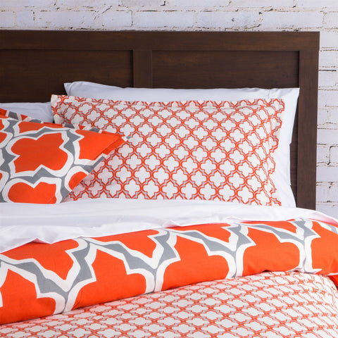 Twin Size Orange Gray Fresh Start 2 piece Comforter Set-Bedroom > Comforters and Sets-Loluxe