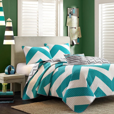 Twin size Reversible Quilt Set in Grey White Teal Blue Green Chevron Stripe-Bedroom > Quilts & Blankets-Loluxe