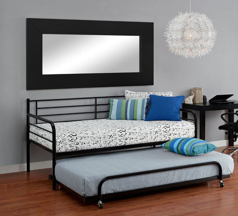 Twin size Roll Out Trundle Bed Frame in Black Metal-Bedroom > Bed Frames > Daybeds-Loluxe