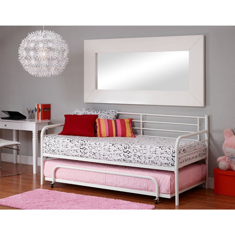 Twin size Roll Out Trundle Bed Frame in White Metal-Bedroom > Bed Frames > Daybeds-Loluxe
