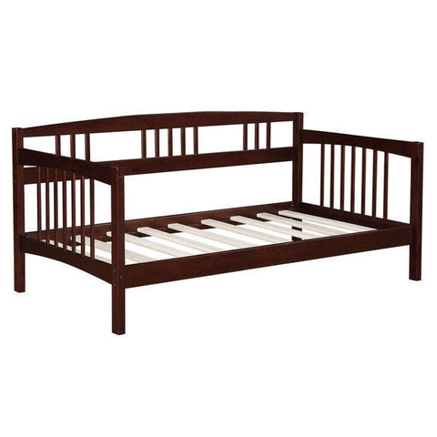 Twin size Solid Wood Day Bed Frame in Espresso Finish-Bedroom > Bed Frames > Daybeds-Loluxe