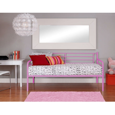 Twin size Stylish Pink Metal Daybed-Bedroom > Bed Frames > Daybeds-Loluxe