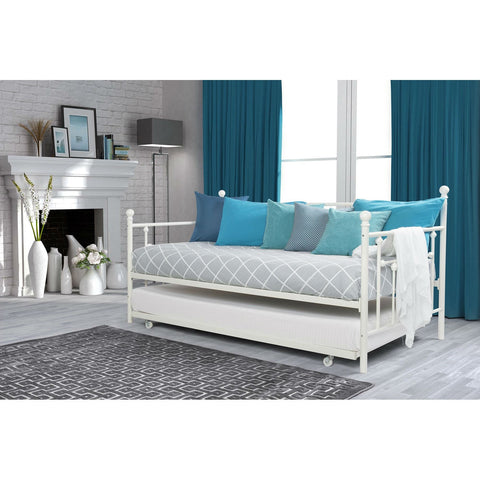Twin size White Metal DayBed with Roll-out Trundle Bed-Bedroom > Bed Frames > Daybeds-Loluxe