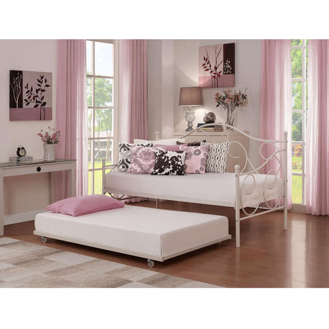 Twin size White Metal Trundle Bed with Casters Wheels for under Daybeds-Bedroom > Bed Frames > Daybeds-Loluxe