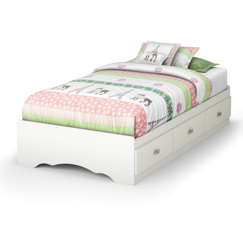 Twin size White Platform Bed Frame with 3 Storage Drawers