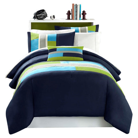 Twin / Twin XL size Comforter Set in Navy Khaki Teal and Green-Bedroom > Comforters and Sets-Loluxe
