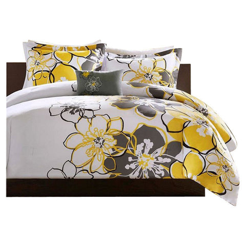 Twin / Twin XL size Yellow Floral Flowers 3-Piece Comforter Set-Bedroom > Comforters and Sets-Loluxe