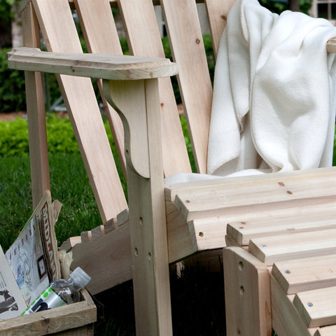 Unfinished Asian Fir Wood Adirondack Chair with Contoured Seat and Wide Armrests-Outdoor > Outdoor Furniture > Adirondack Chairs-Loluxe
