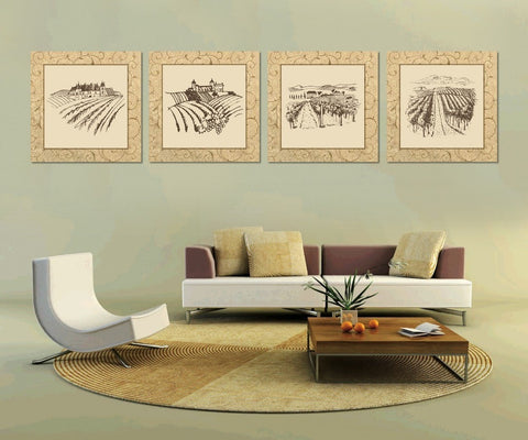 Unframed 4 Piece Abstract Canvas Modern Paintings-Loluxe