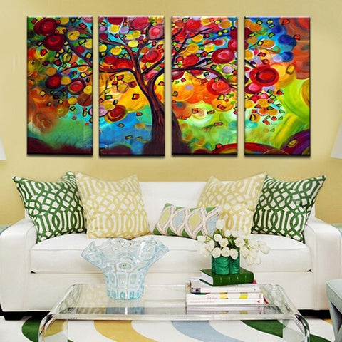 Unframed 4panel Handmade Coloful Setting Wishing Tree Modern Abstract Oil Painting-Loluxe