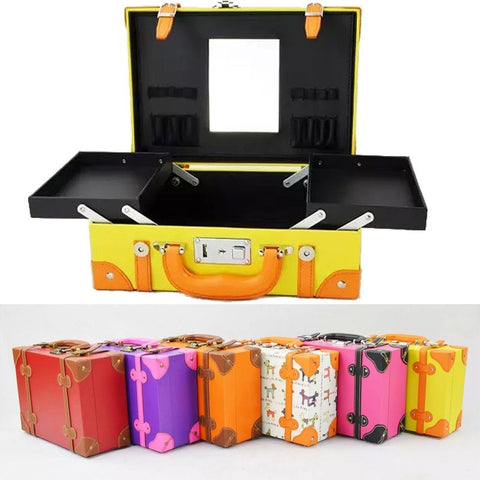 "Unique Cute Retro Vintage Style Ladies 14"" Makeup Portable Case - 6 Colors-Loluxe"