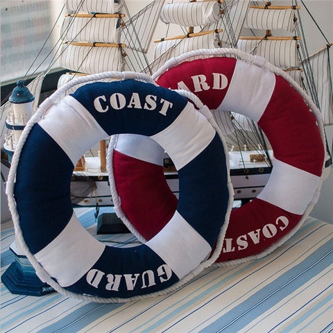 Unique Premium Quality Trendy Elegant Nautical Style Life Ring Round-Shaped Novelty Decorative Accent Pillow Blue or Red-Loluxe