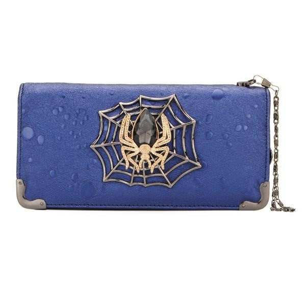 Unique Trendy Leather Spider Jewel Accent Long Wallet-coin purse wallet clutch-Loluxe