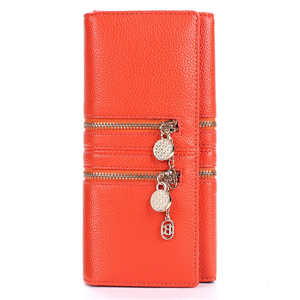 Unique Trendy Women's Leather Double Zipper Long Clutch/Wallet/Card Holder-coin purse wallet clutch-Loluxe
