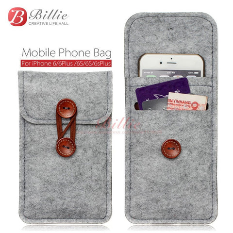 Unique Vintage Ole School Style Wool Felt Cellphone Case w/Card Slots for iPhone - 4 Colors 2 Sizes-Loluxe