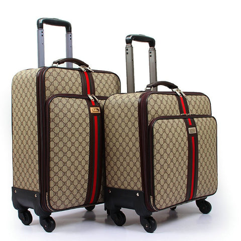 Unisex Designer Print PU Leather Vintage-Style Universal Wheels Trolley Travel Luggage 4 Sizes-Loluxe