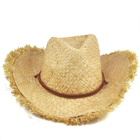 Unisex Feathered-Edge Natural Straw Cowboy Sun Hat-Loluxe