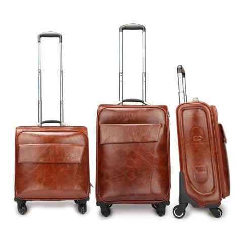 Unisex High-Quality Luxury PU Leather Universal Wheel Vintage-Style Luggage 3 Sizes-Loluxe