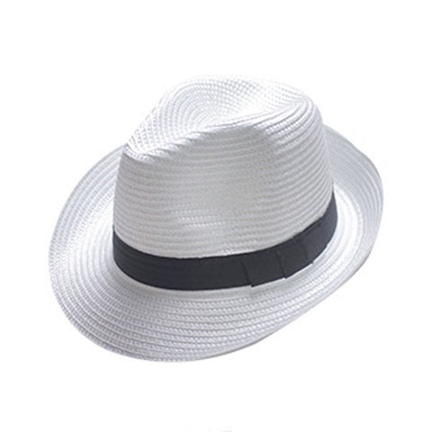 Unisex Straw Ribbon Band Fedora Trilby Panama Hat 8 Colors-Loluxe