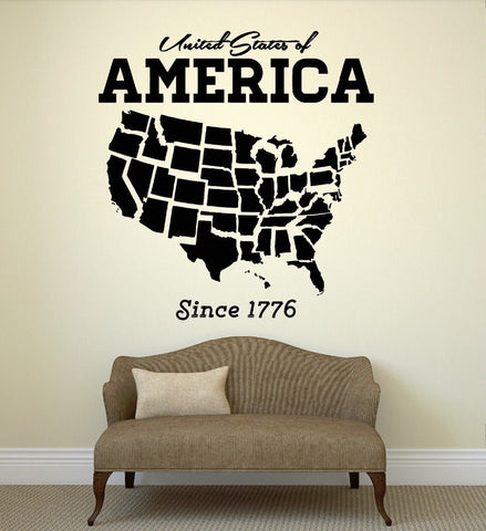 United States USA Map Vinyl Wall Decal 4 Sizes-Loluxe