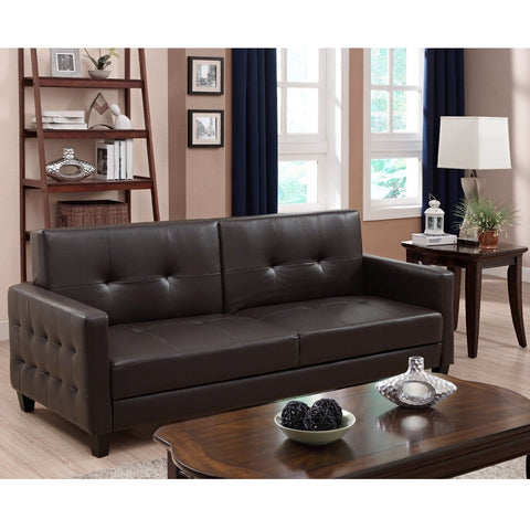 Upholstered Rich Brown Tufted Faux Leather Sofa Bed Futon-Living Room > Sofas-Loluxe