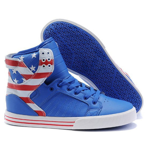 USA American Flag Patriotic High-Top Men's Sneakers-Loluxe