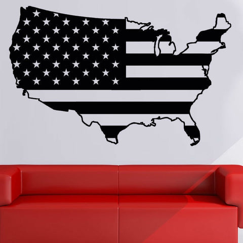 USA American Flag Vinyl Wall Decal Sticker Wall Decor 3 Sizes-Loluxe