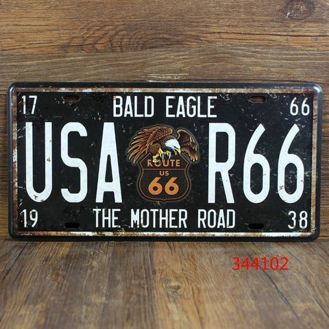 USA Bald Eagle Route 66 Vintage Metal Car License Plate Wall Decor 15x30cm-Loluxe