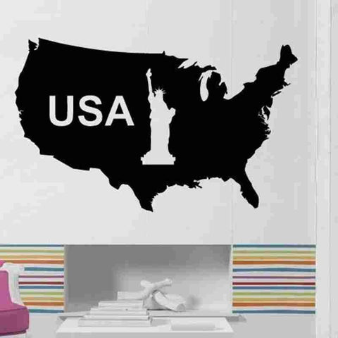 USA Map Statue of Liberty Vinyl Wall Poster Sticker Decal 17 Colors-Loluxe